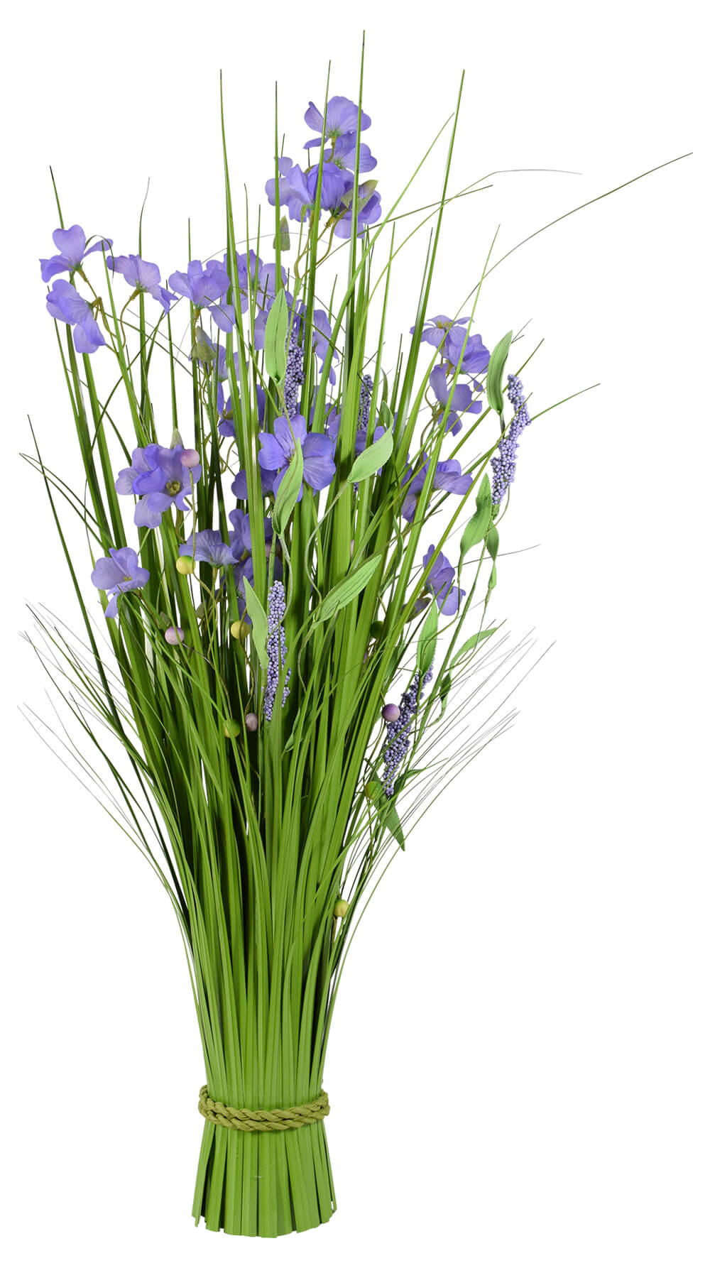 Grass Bundle with Purple Flowers