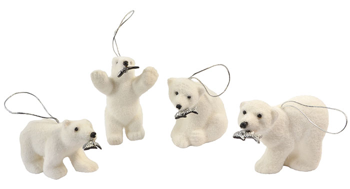 Decorative Flocked Polar Bears with Fish