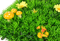 Luxury Grass Mat Square with Yellow Fl