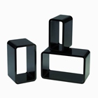 SET OF 3 BLACK RECTANGLE DECORATION BO