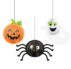 Ghost, Pumpkin & Spider Halloween Hanging Decoration Set