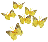 Yellow Decorative Butterflies - 7cm Pk.6
