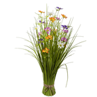 Freestanding Grass with Multi-Coloured Flo
