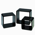 SET OF 3 BLACK SQUARE DECORATION BOXES