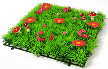 Luxury Grass Mat Square with Red Flowe