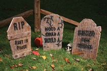 Wood Effect Grave Stones - Set of 3