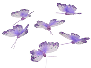 Lilac Feather Butterfly - 8cm Pk.6