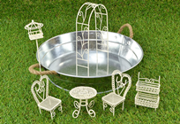 Rustic Wire-Work Mini Garden Metal Tub Set