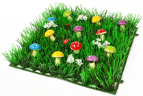 Grass Square with Multi-Coloured Mushrooms