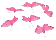 Pink Feather Butterfly - 8cm Pk.6