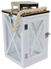 White Contemporary Wooden Candle Lantern