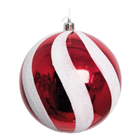 Red & White Candy Swirl Bauble - 1