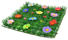 Grass Mat Square with Multi-Coloured Flo