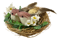 Maroon Birds in Decorated Nest